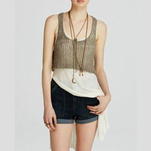 FREE PEOPLE Two Tone Twofer Sweater Tank Ivory-S,M